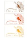 Visitenkarte mit einem Schattenbild einer Frau mit dem schönen Haar kann als Fahnen für Design benutzt werden Stockfotos