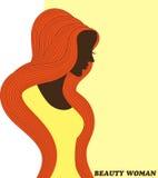 Visitenkarte mit einem Schattenbild einer Frau mit dem schönen Haar kann als Fahnen für Design benutzt werden Lizenzfreie Stockfotografie