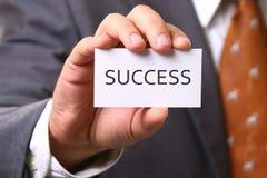 Visitenkarte mit Erfolg Lizenzfreies Stockfoto