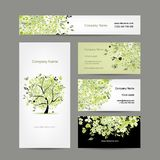 Visitenkartedesign, Frühlingsbaum mit Blumen Lizenzfreie Stockfotos