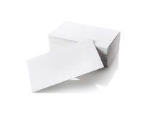 Visitenkarten auf Weiß Stockfoto