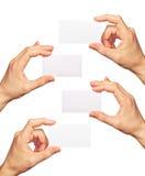 Visitenkarten in den Händen Stockfoto
