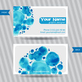 Visitenkarten mit runden Aquarellflecken Lizenzfreies Stockbild