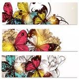 Visitenkartesatz mit Schmetterlingen und Blumen für Design Stockbild