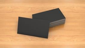 Visitenkarteschablone auf hölzernem Hintergrund Hohe Auflösung 3D übertragen Stockfotos