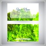 Visitenkarteschablone mit wirbelnder grüner Tinte Stockbild