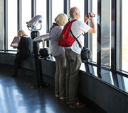 Visiteur prenant des photos dans l'oeil de tour de Sydney, Australie Photographie stock libre de droits