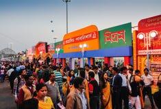 Visiteurs à la foire de livre de Kolkata - 2014. Images libres de droits