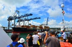 Visiteurs aux ports d'Auckland - le Nouvelle-Zélande Photo stock