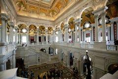 Visiteurs dans le lobby de la Bibliothèque du Congrès images libres de droits