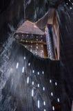 Visiteurs regardant dans le puits, mine de sel Turda Photos libres de droits