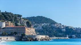 Visitez la carte Nice du paysage avec la mer et les montagnes Photographie stock