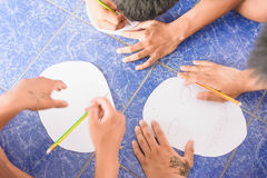 Visitez la jeunesse et faites les activités ensemble dans le département des corrections Ju Photos libres de droits