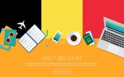 Visitez le concept de la Belgique pour votre bannière de Web ou illustration de vecteur