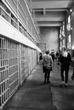 Visiting Alcatraz. Young visitors learn about Alcatraz jail history Royalty Free Stock Images