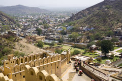Visiting Amber Fort in the city of Jaipur - India by elephant, sitting on the elephant`s back to discover the famous Amber Fortres. S or otherwise named Amer Royalty Free Stock Photography