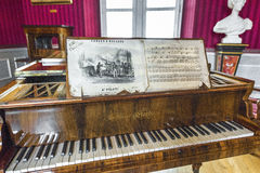 Visiting Amboise castle. In the musical salon of Amboise castle. Loire valley, France Stock Photos