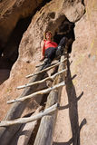 Visiting the ancient ruins in Bandelier National Monument Stock Image