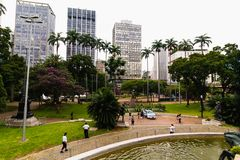 Visiting the Anhangabau Valley in Sao Paulo Downtown. Sao Paulo, SP / Brazil - 01/25/2019: Visiting the Anhangabau VAlley in Sao Paulo downtown during the Sao royalty free stock images