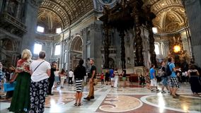 Visiting the Basilica of Saint Peter stock video