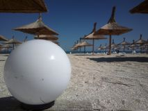 Ball and sea in one picture. Visiting the Black Sea this summer in August with friends Stock Image
