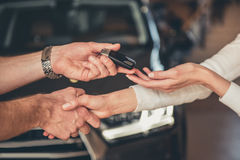 Visiting car dealership Royalty Free Stock Image