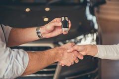 Visiting car dealership Stock Images