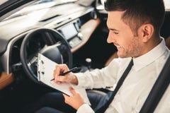 Visiting car dealership royalty free stock photo