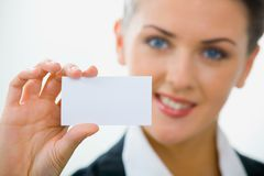Visiting card. Image of  woman holding her visiting card Stock Photo