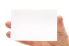 Visiting card. Hand of man whit the visiting card Royalty Free Stock Photos
