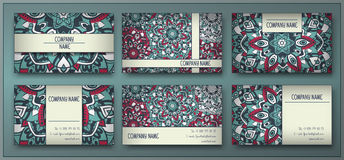 Visiting card and business card set with mandala design element stock photo