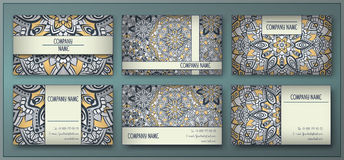 Visiting card and business card set with mandala design element royalty free stock image