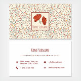 Visiting card business set template with cute hand drawn pattern Royalty Free Stock Images
