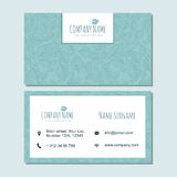 Visiting card businesscard template with cute hand drawn pattern Stock Images