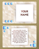 Visiting card with gemstone. Cutaway beige and blue color. Stock Photography