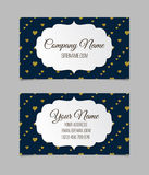 Visiting card with golden foil heart shape design. Royalty Free Stock Images