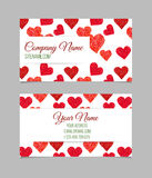 Visiting card with hand drawn hearts. Royalty Free Stock Photo