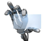 Visiting card. Hand of robot and visiting card Stock Image