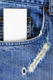 Visiting card in the pocket of jeans Royalty Free Stock Photography