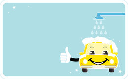 Visiting card with smiling car wash. Cleaning company sign with cartoon smile house thumb up and shower Royalty Free Stock Photos