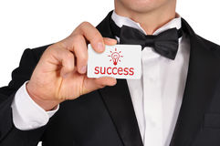 Visiting card with success Royalty Free Stock Photo