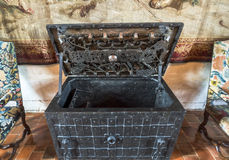 Visiting Chaumont castle. Antique road trunk at the exposition of Chaumont castle. Loire valley, France stock image
