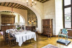 Visiting Chaumont castle. In the dining hall of Chaumont castle. Loire valley, France royalty free stock images