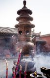 Visiting Chinese Buddhist tample Royalty Free Stock Image
