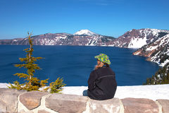 Visiting Crater Lake national park, Oregon. Royalty Free Stock Photo