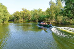 Visiting Danube Delta by boat Royalty Free Stock Images