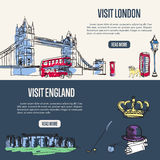 Visiting England and London Touristic Web Banners Royalty Free Stock Photos