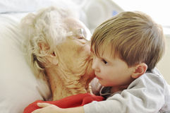 Visiting grandma in the hospital royalty free stock photo