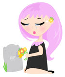 Visiting grave site. Illustration of a young girl visiting a grave site, sad and crying vector illustration