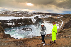 Visiting Gullfoss Royalty Free Stock Photo